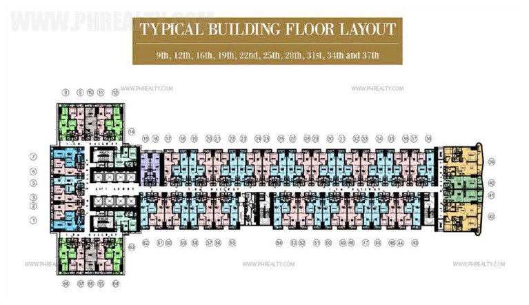 coastresidencessmdc_9th, 12th, 16th, 19th, 22nd, 25th, 28th, 31st, 34th and 37th Floor Plan
